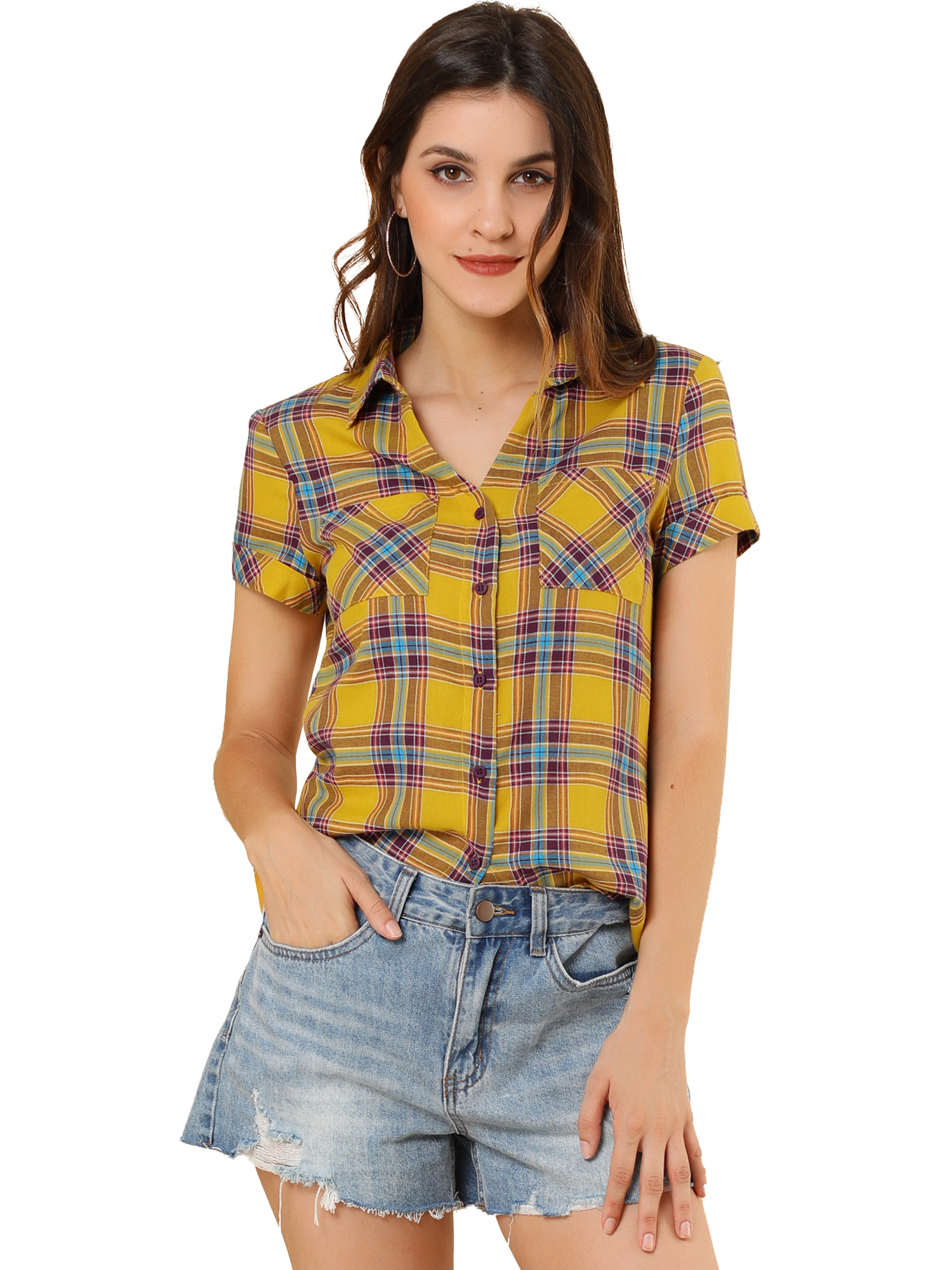 Women's Casual Boyfriend Plaid Button Down Shirt Yellow S