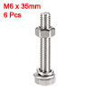 M6 x 35mm Hex Head Screws Bolts, Nuts, Flat & Lock Washers Kits 6 Sets