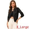 Allegra K Women's Windbreaker Outerwear Zip Up Bomber Jacket Black XL