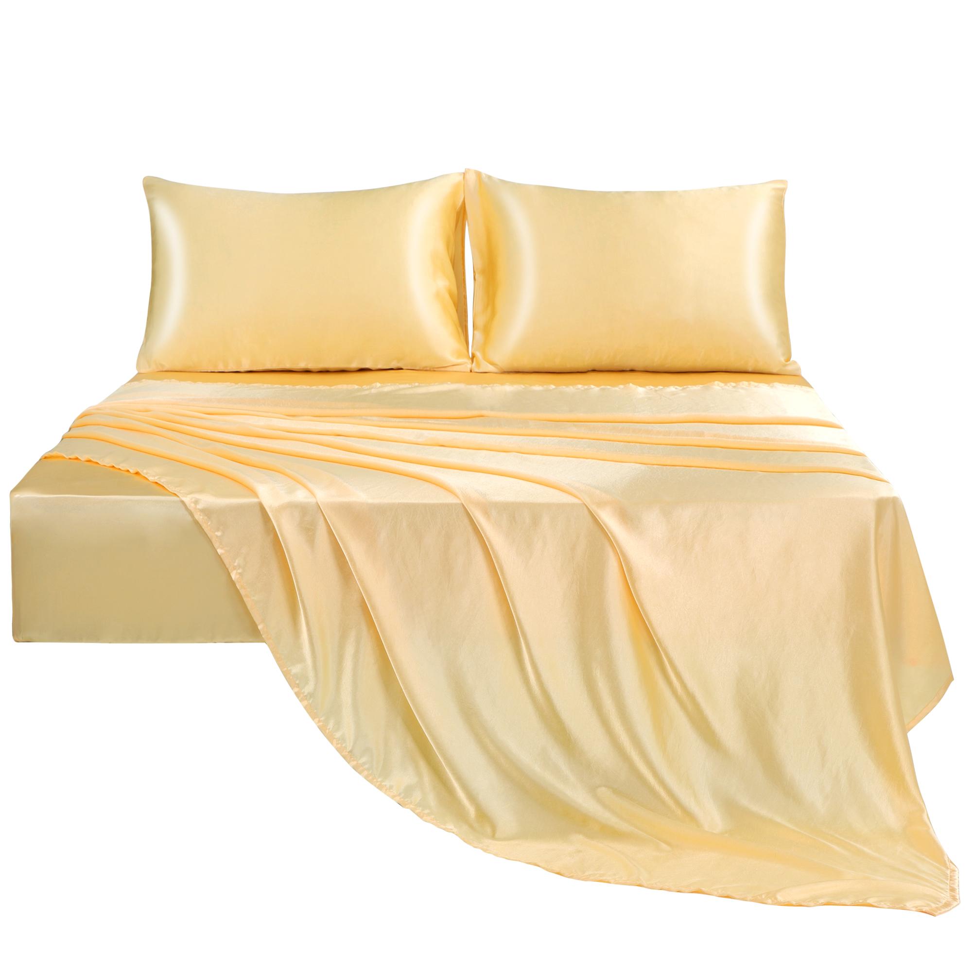 Satin Sheet Set 4 Pcs Polyester Smooth Soft Luxury Bedding Set Gold King