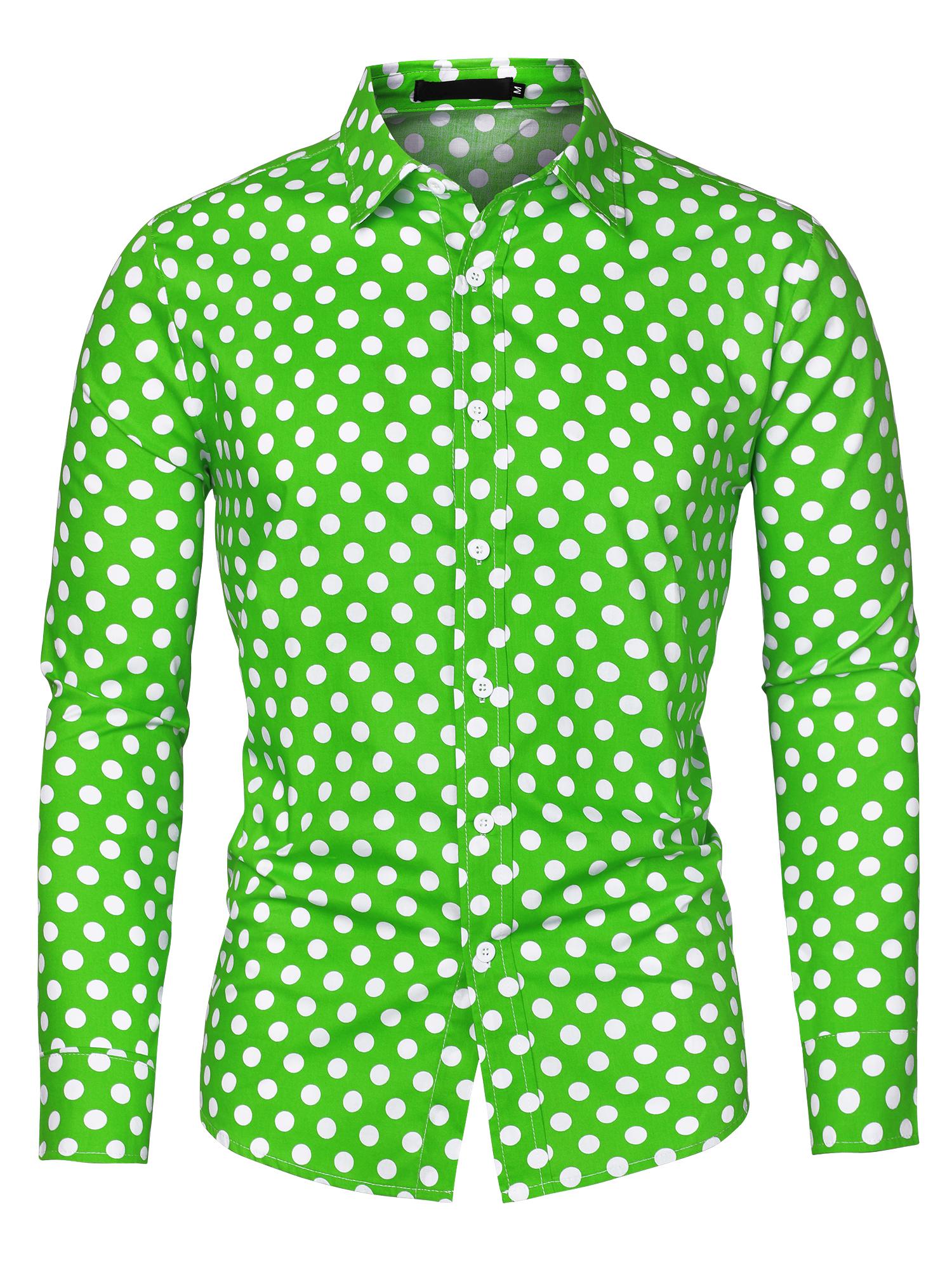 Men 100% Cotton Polka Dots Long Sleeve Slim Fit Dress Shirt Green 34