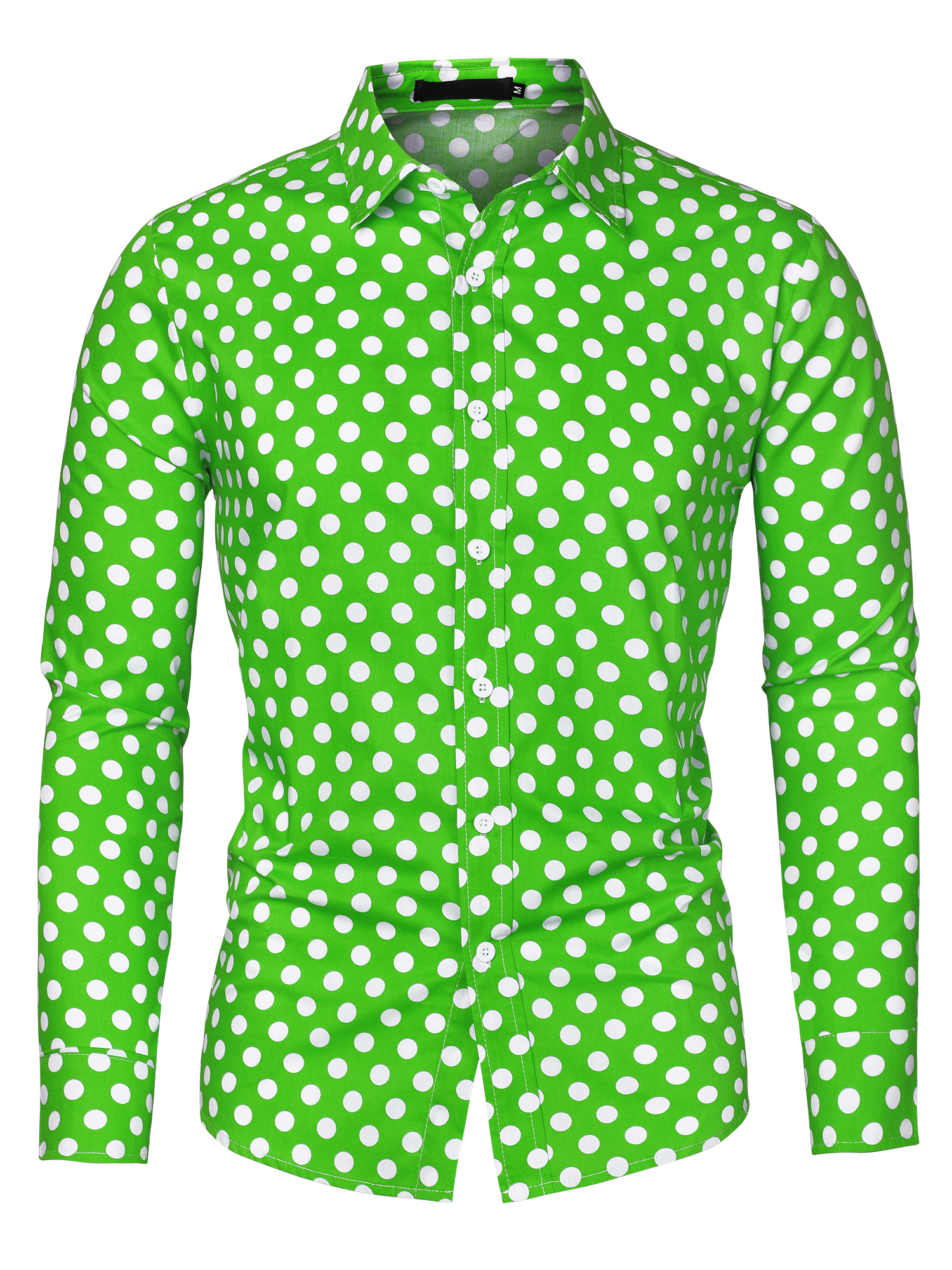 Men 100% Cotton Polka Dots Long Sleeve Slim Fit Dress Shirt Green 50