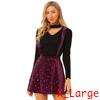 Allegra K Women's Star Printed Velvet Suspender Overall Skirt Burgundy XL